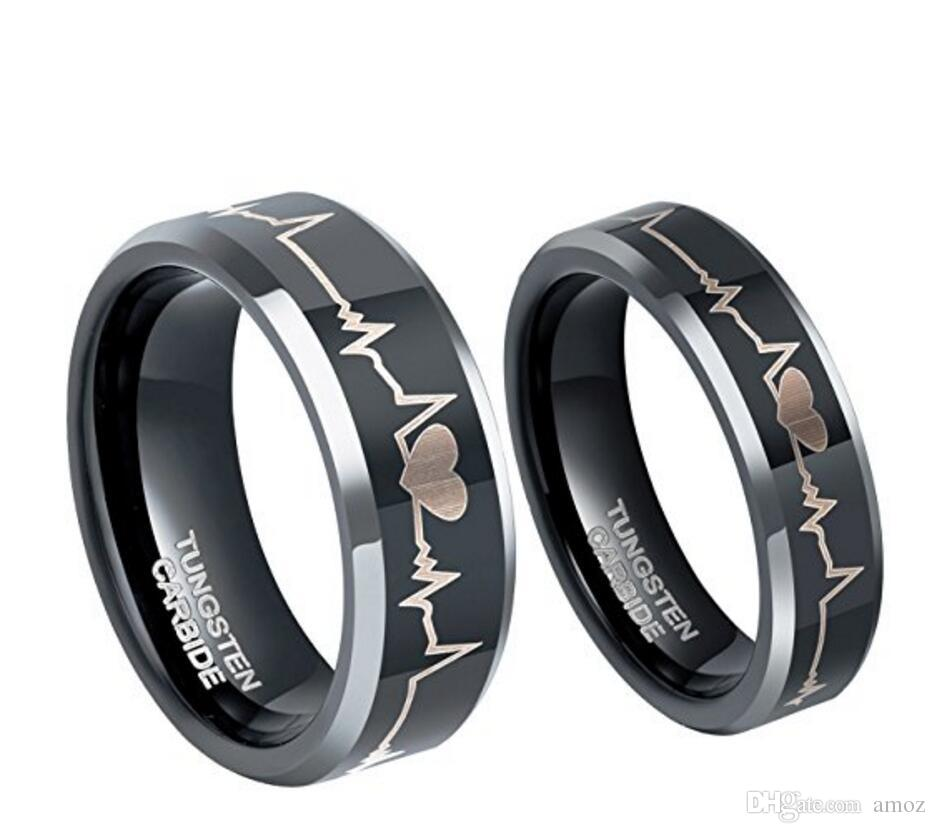 6mm 8mm Tungsten Carbide Couple Wedding Rings Etched Ekg Heart Beat