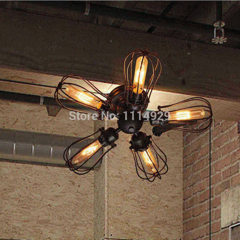 Vintage Industrial Loft Style Ceiling Fixtures Retro Lamp: Best Loft Vintage Ceiling Lights Antique Lamps American
