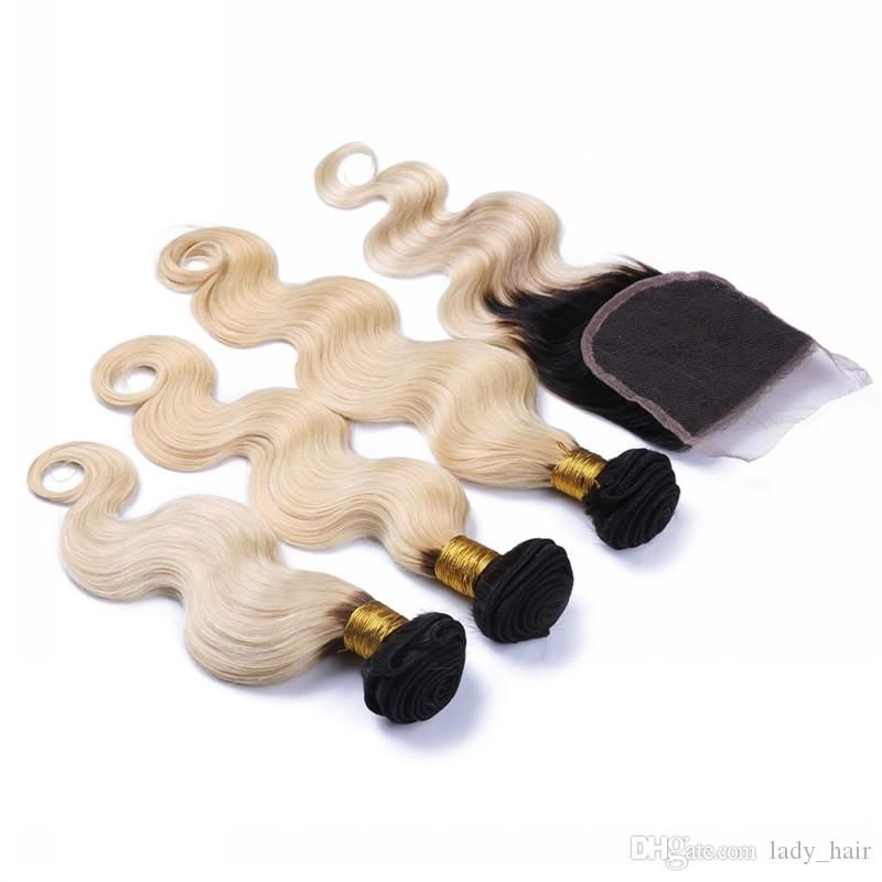9A reines brasilianisches Ombre Haar mit Verschluss 3 Bundles # 1B / 613 zwei Ton Haar spinnt mit Verschluss Körperwelle wellig blonde Haare mit Verschluss