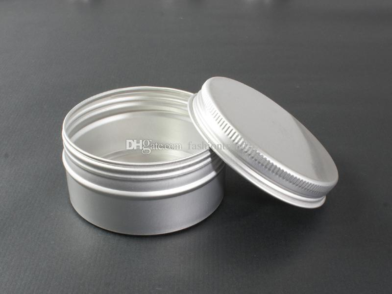 60g Aluminum Jar Tin Silver Color Metal Cosmetic Container Nail Art Makeup Lip Gloss Liquid Cream Pot Screw Thread Tin Jar
