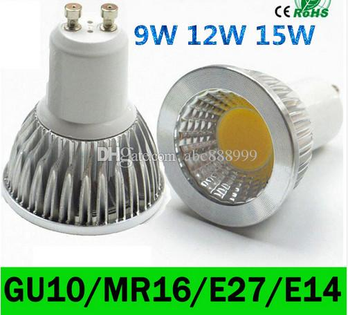 ce ul saa Regulable E27 E14 GU10 MR16 Bombillas LED Luces cob 9W 12W 15W Lámpara de bombillas LED Spot AC 110-240V / 12V