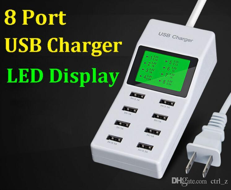 US UK 6 8 USB Charger Ports Led Display Travel AC Power Adapter Socket Smart Charger For Cell Phone Tablet Fast charge