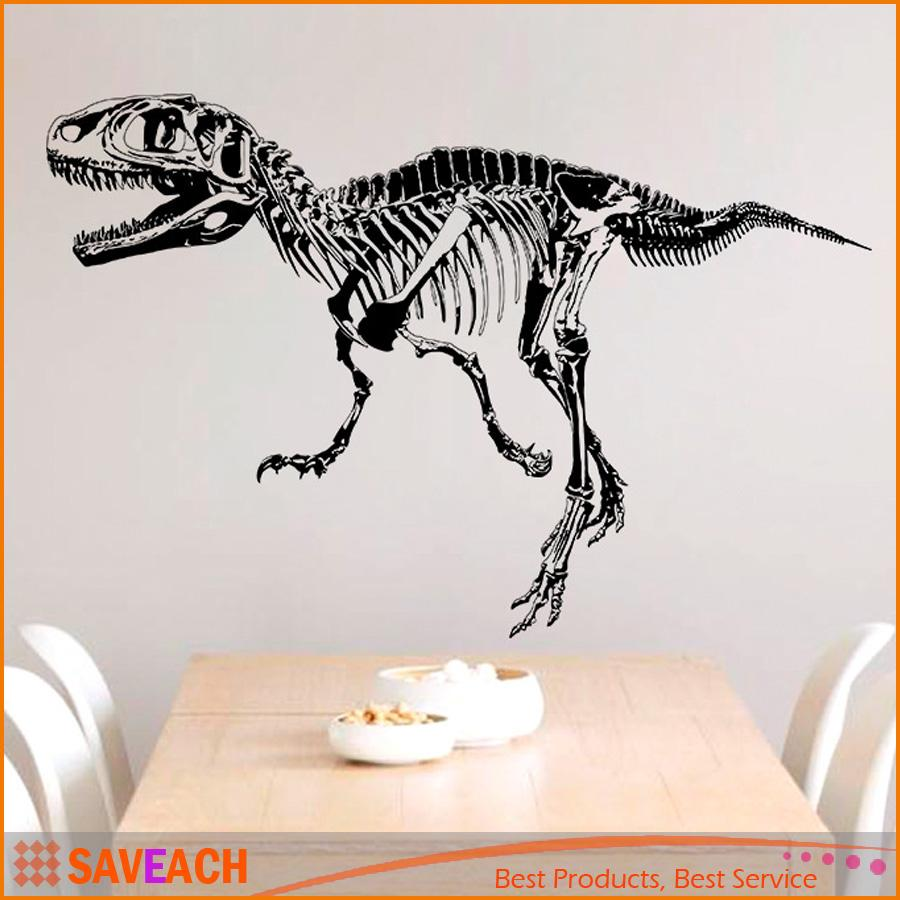 Black Creative Dinosaur Skeleton Wall Stick, Dinosaurs Wall Stickers Living  Room Bedroom Adornment For Kids Boy Room Home Decor Name Wall Decals Name  Wall ...