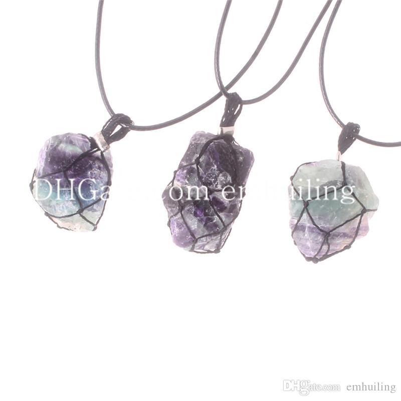 Обернутые веревкой случайные размеры необработанного флюорита Каменные хрустальные ожерелья Чокеры Исцеляющая чакра Свободная форма Натуральное наслоение Флюорит Самородок Бусы