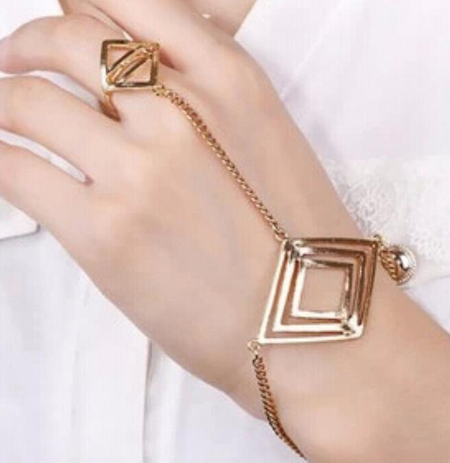 OL Punk Triangle Bracelet Shape Spike Chain Hand Harness Bracelet Bangle Finger Ring Jewelry for Women Fashion Ring Connection Bracelet