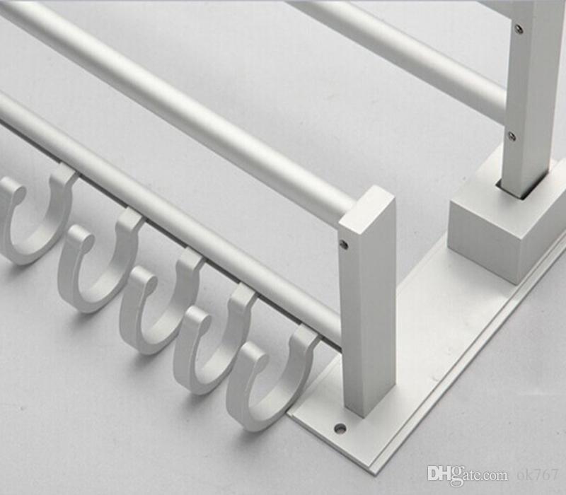 New Foldable Double Alumimum Towel Bar Set Rack Tower Holder Hanger Bathroom Hotel Shelf with 5 hooks