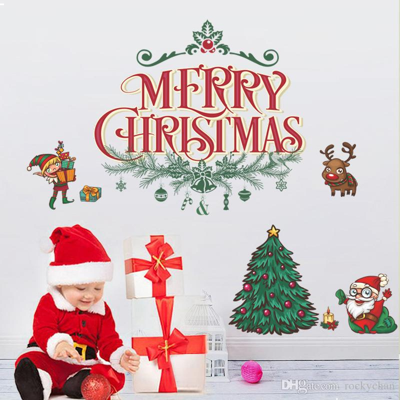 Merry Christmas Santa Claus Wall Stickers Christmas Tree Living Room