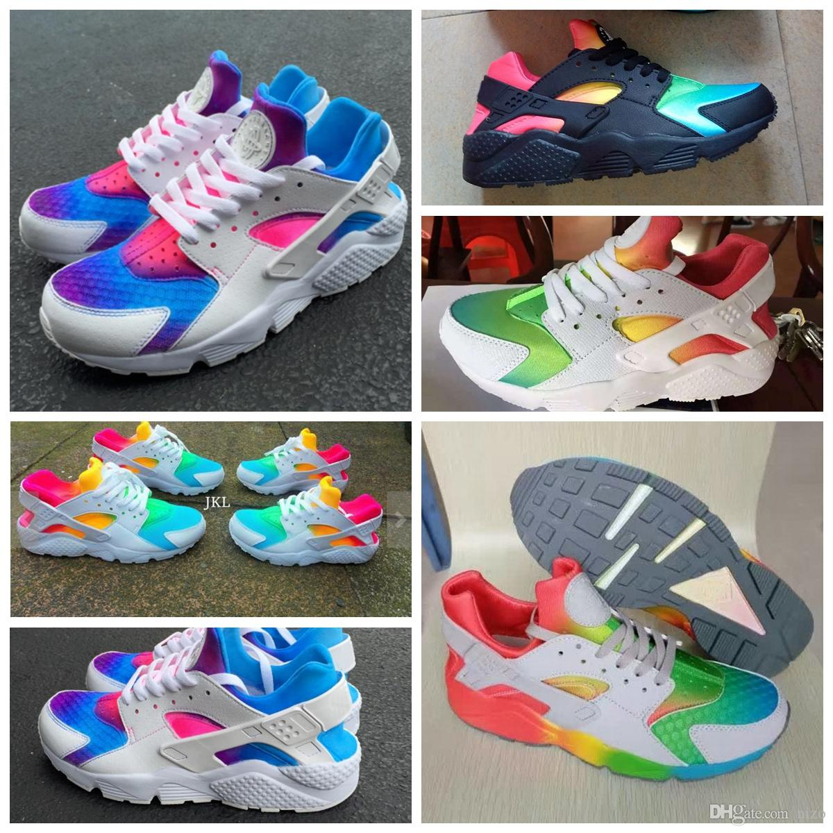 finest selection bdfc7 57a44 2016 Huarache Sneakers Women And Mens Huaraches Colorful White Huarache  Blue Running Shoes Sneakers Air Huarache Rainbow Shoes Size 36 45 Good  Running Shoes ...