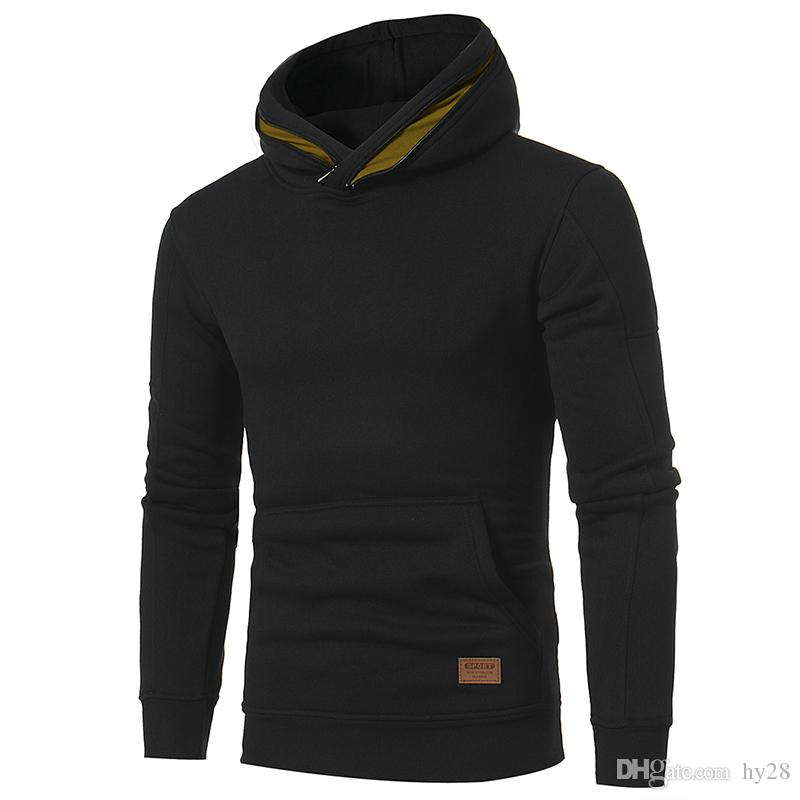 2018 Горячие простой карманный карман шляпа молния с длинным рукавом мужская повседневная самосовершенствование свитер пальто сплошной цвет с капюшоном свитер бесплатная доставка