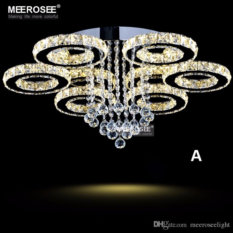Modern Led Crystal Chandelier Ring Circle Re Ceiling Light Lighting Fixture Cristal Flush Mounted Lamp Home Bedroom Chandeliers