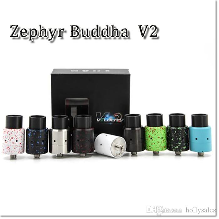 Vaporizador Zephyr Buda V2 Atomizadores RDA Fat Buddha Zephyr V2 Atomizador com Largura Furo Drip Tips Cap Chuff 26650
