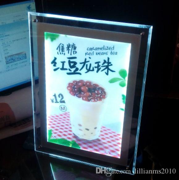 A3 Stand Crystal Frame Advertising LED Light Box,Standoff Illuminated Acrylic Panels