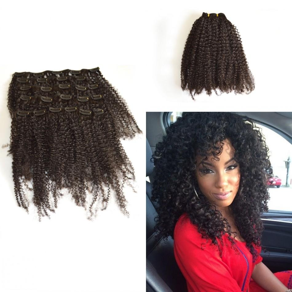 Kinky Curly Clip In On Human Natural Hair Extensions 22 Clip Ins