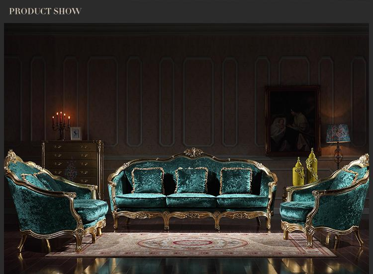 2018 Italian Classic Living Room Furniture Luxury Classic Sofa Set Rococo Style Solid Wood Frame
