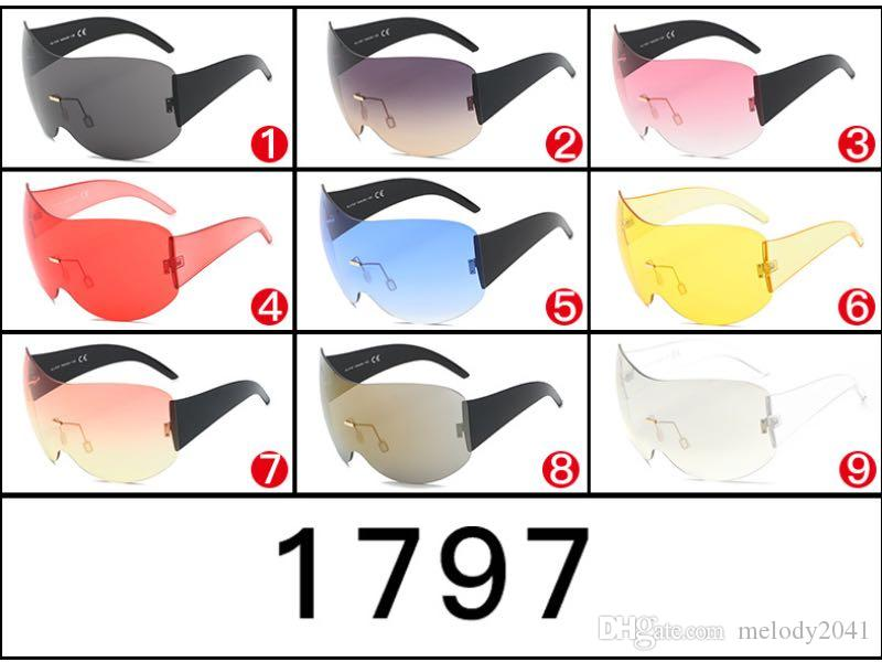 2017 New Cool Goggles Fashion Shield Sunglasses For Men And Women Driving Rimless Frame Wholesale Eyewear