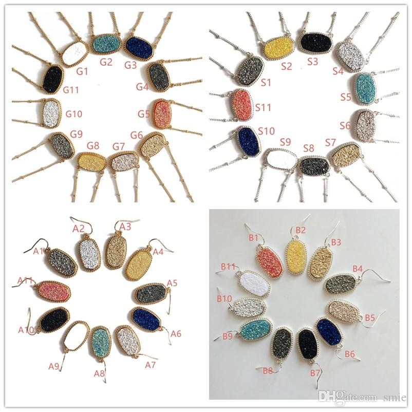 Hot Popular Druzy Drusy Earrings Necklace Various 11 Colors Gold Plated Geometry Stone Earrings For Women Jewelry