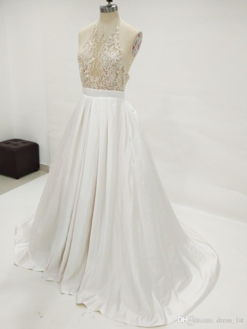 Sexy 2017 vestidos de novia sin espalda halter Beach modesto tamaño de raso bordado Plus por encargo Vestidos de novia de China EN8192