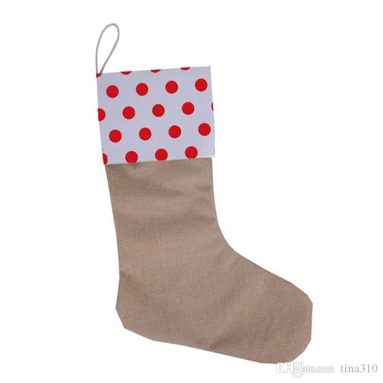 12 * 18 pollici nuovo di alta qualità della tela di canapa calza di Natale Sacchetti regalo di Natale calza di Natale calzini decorativi borse 4543