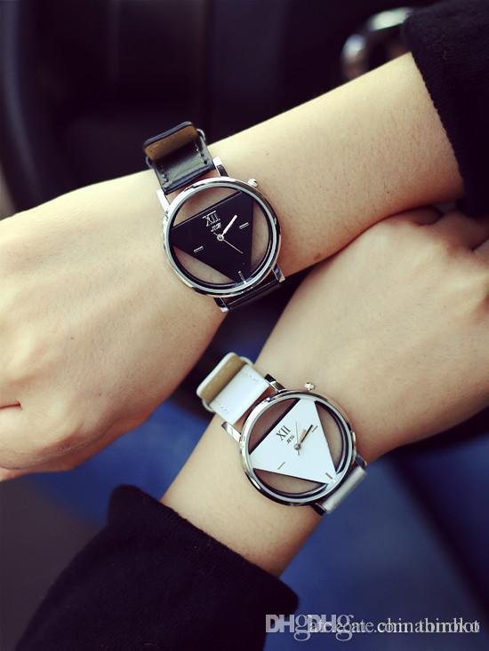 79f1c13079d8 Fashion Triangle Analog Watches Man Women Quartz Watch PU Strap Hollow  Glass Alloy Dial Wristwatches For Christmas Gift Lover Free DHL Cheapest  Watches ...