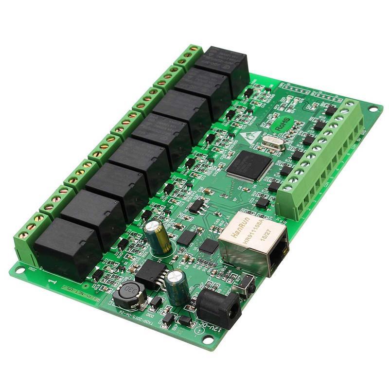 Freeshipping 8 canali 250 V / AC 10A Relay Network IP Relay Web Relay Dual Control Ethernet RJ45 Scheda di interfaccia