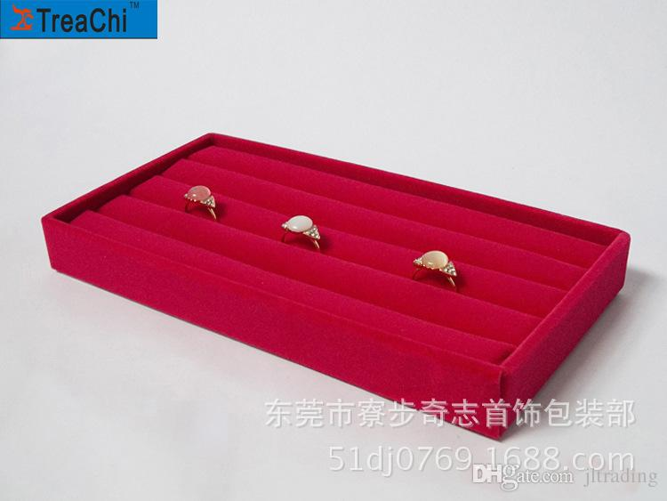 Red Grey Brown Black Velvet Ring Tray Rings Storage Earrring Stud Boxes Jewelry Display Package Show Case Small Size Organizer Tray