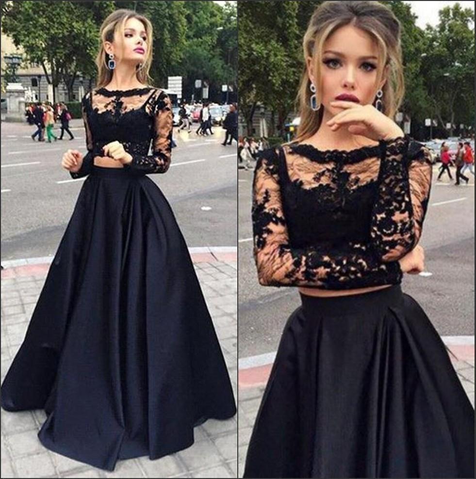 Heißer verkauf schwarz billig zwei stück prom kleider lang mit ärmeln eine linie sexy crew spitze abendkleider