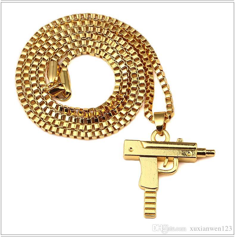 Vendita di fabbrica catena d'oro pendente a pistola unisex 18 k placcato oro submachine pistola pendente catena maxi pistola collana gli uomini / donne hip hop