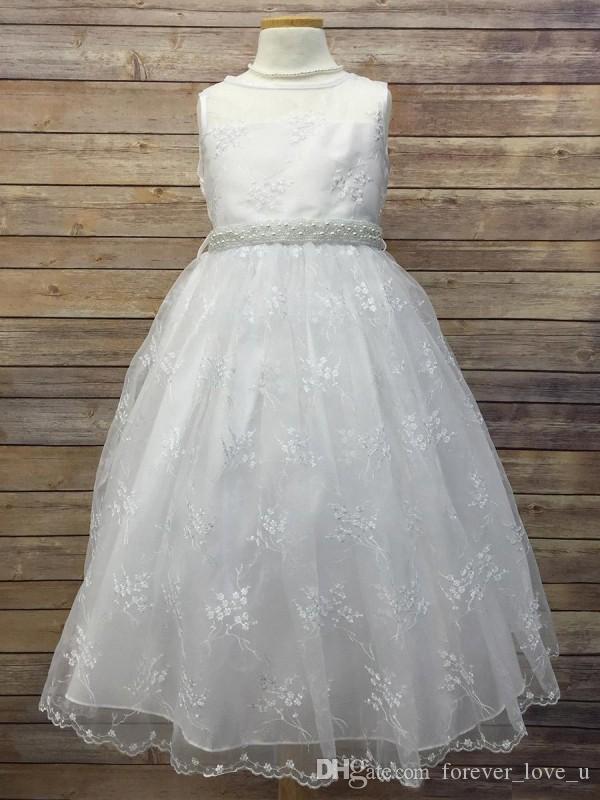 귀여운 꽃 여자 드레스 웨딩 라인 쉬어 목 민소매 레이스 차 길이 아이 정장 가운 파란색 진주 벨트