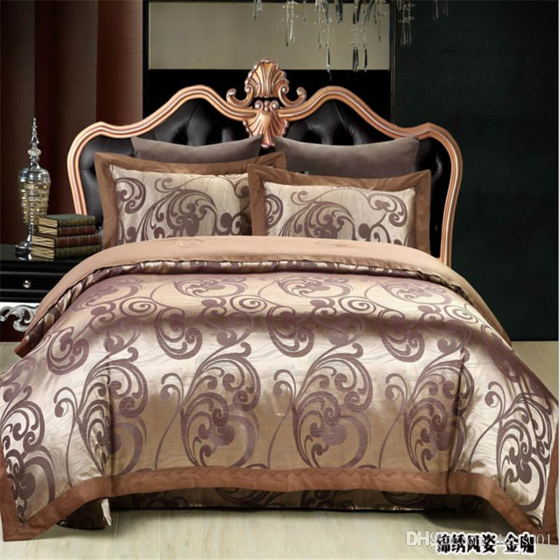 شحن مجاني أعلى جودة جديد نمط الأزهار الحرير القطن مجموعة مفروشات الملكة الملك الحجم المنسوجات المنزلية ورقة السرير / غطاء لحاف / المخدة 4 قطعة / المجموعة