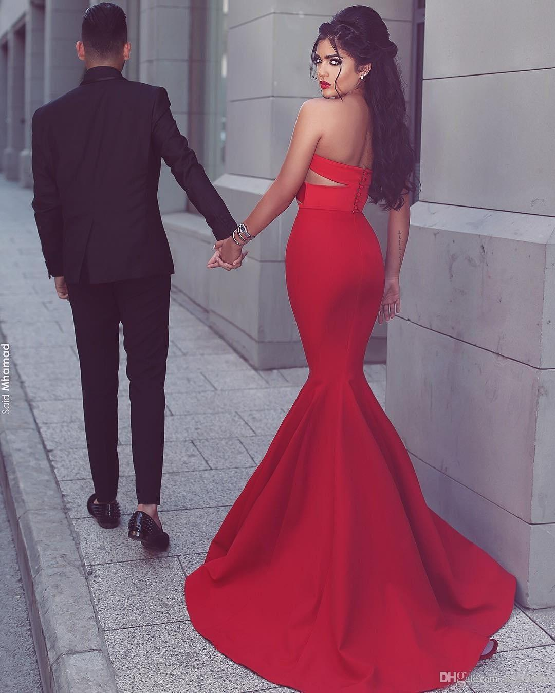Arabic Red Satin Sweetheart Mermaid Evening Dresses 2016 Sexy Cut Away Side Front Long Red Carpet Gowns Custom Made China EN8269