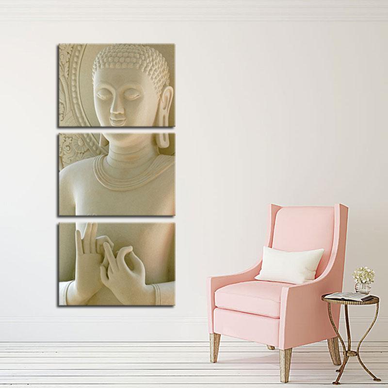 Panel 3 Moderne Buddha-Malerei-Kunst Weißer Marmor Buddha Vertikale Formen Leinwand Dekorative Abbildung Bild Moderne Wand-Kunst-Malerei-Druck