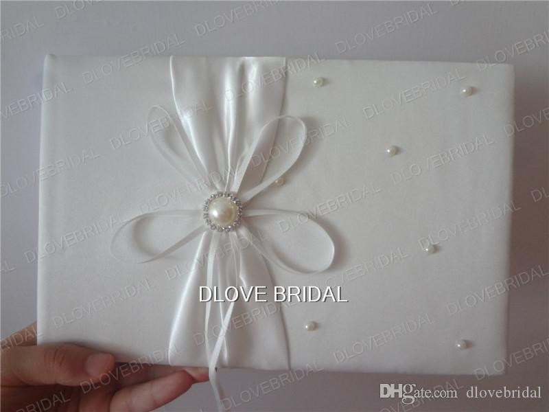 High Quality Wedding Supplies Ivory Satin Bridal Favors Set Ring Pillow Flower Girl Basket Guest Book Sign Pen Container Garter Real Photo
