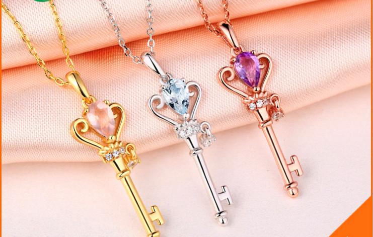 2016 The new 18K Choi Po sterling silver necklace necklace items decorated Japan and South Korea amethyst crystal topaz stone pendant