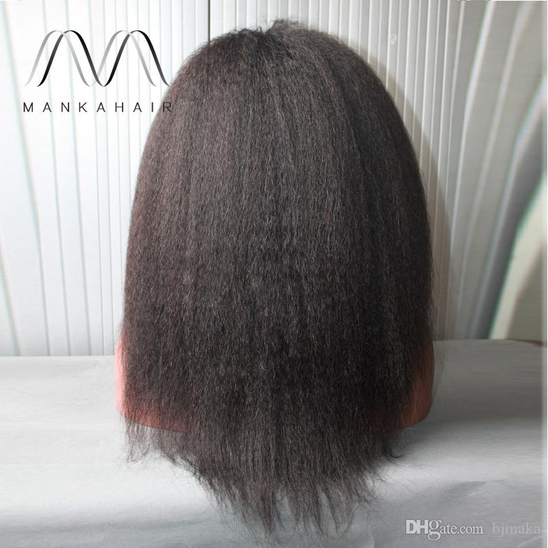 Hair Wigs For Black Women Natural Color kinky Straight Human Hair Wigs Glueless Full Lace Wig With Baby Hair