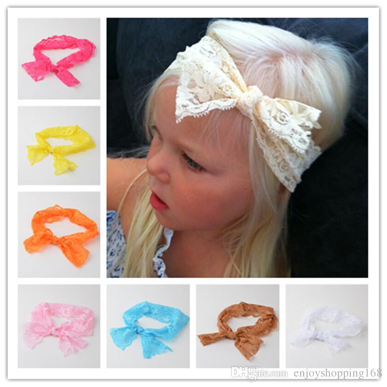 Fashion Baby Girls Simple Lace Bow Headbands Toddler Kids Elastic Ivory  Hairbands Children Unique Hair Accessories Europe Style KHA527 Handmade  Hair ... 474f3d9b65c