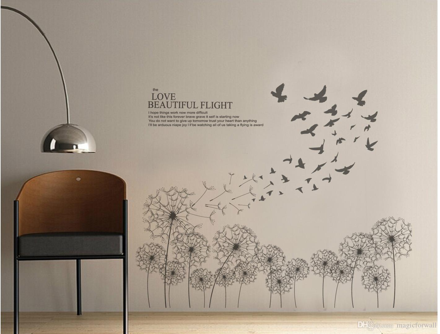 Großhandel Schwarz Fliegende Löwenzahn Vögel Wandtattoos Wohnzimmer Mode  Wand Poster DIY Dekoration Wand Papier Kunst Die Liebe Schöne Flug Quote  Von ...