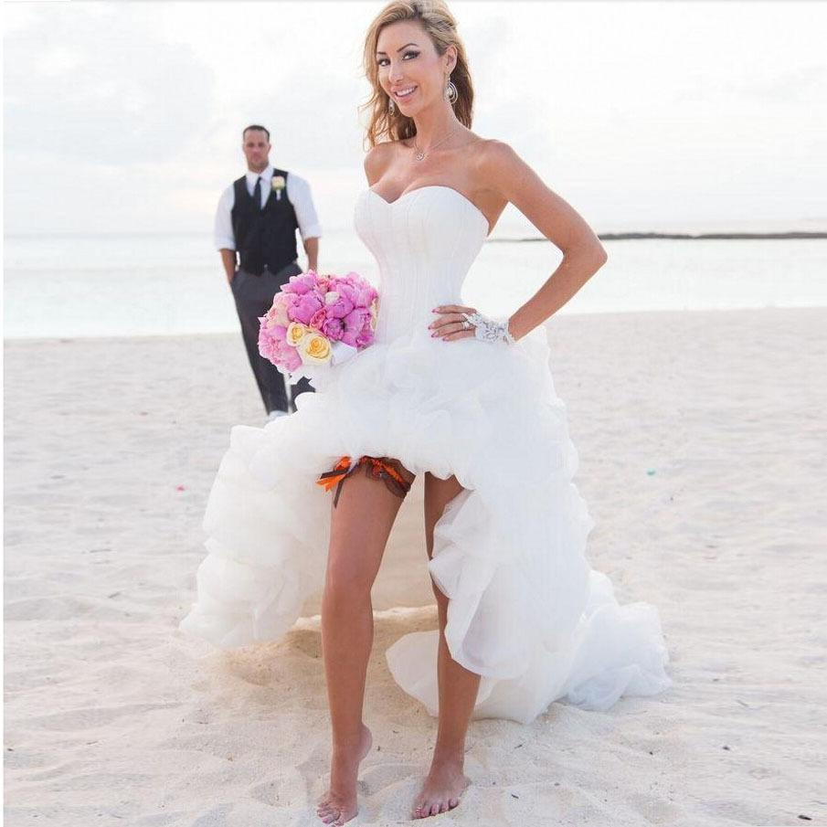 Discount High Low Hemline Beach Wedding Dresses 2016 Cascading Ruffles Organza Gowns Hi Lo Strapless Vestido De Noiva Robe Mariage Vintage