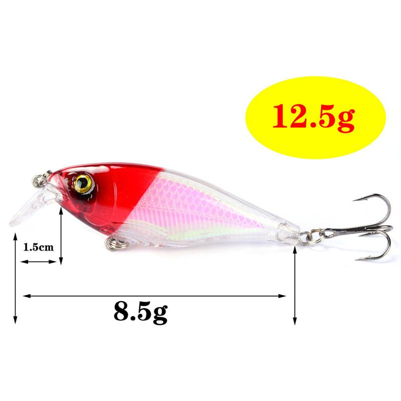 Bright color Blinking Laser Minnow Bait 8.5cm 12.5g 3D Eyes Plastic Artificial lifelike Fishing Lure Hooks