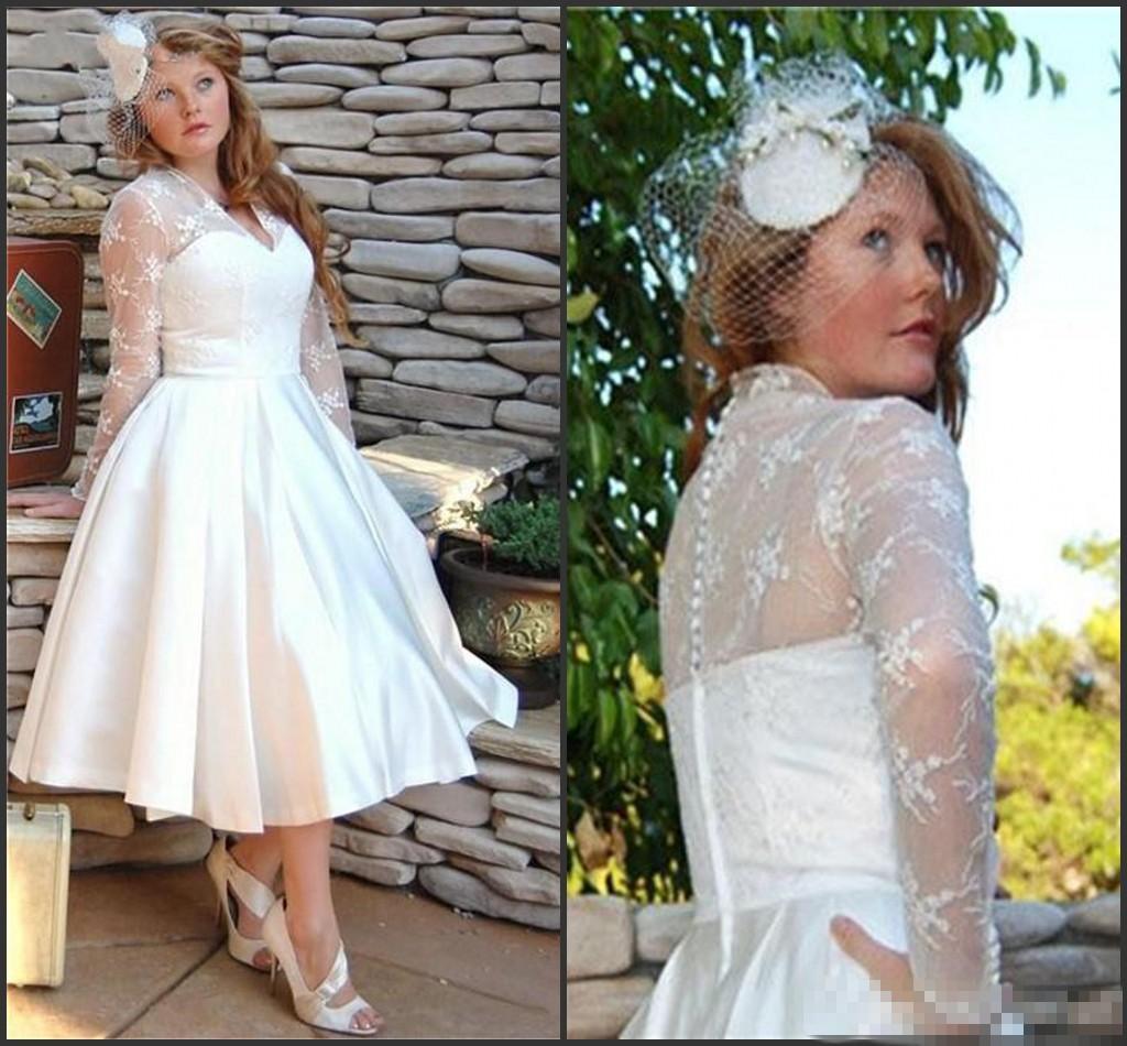 V 목 A 라인 차 길이 레이스 웨딩 드레스 덮여 단추 긴 소매 빈티지 짧은 여름 봄 비치 신부 가운