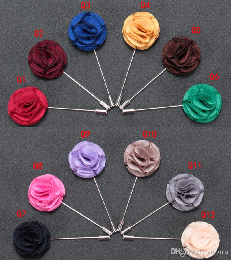 New fashion Men brooch Flower Lapel pin suit Boutonniere Fabric yarn pin button fabric flower brooches Solid Accessories