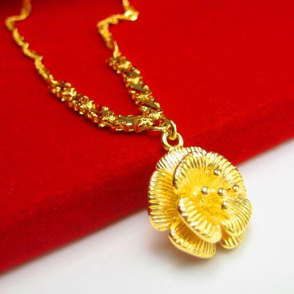 Our Jewelry Gold Necklace Style Imitation 24K Gold 999 Gold Flower Fake Gold  Wedding Jewelry Chain Gold Necklace Gold Pendant Women Necklace Online with  ... 503dab213