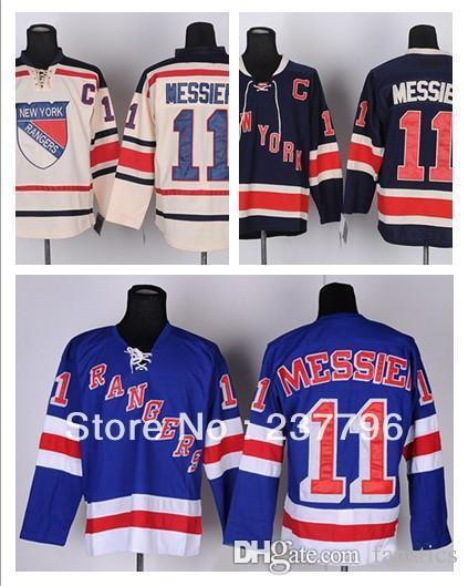 b513534574e New Mark Messier Jersey  11 New York Rangers Ice Hockey Jerseys Blue Beige  Cream Winter Classic Good Quality 100% Stitched Sports Jerseys Cheap Sports  ...
