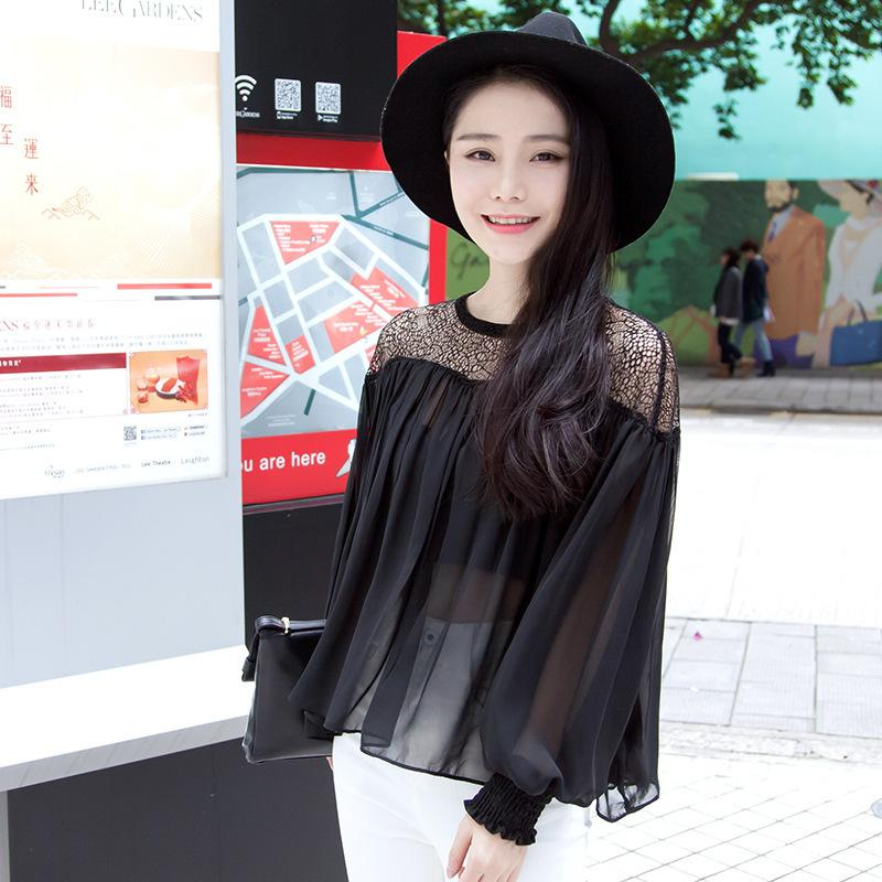 ec24e356fdd05 Chiffon Shirt Woman Long Sleeve 2016 Spring Clothes New Pattern Korean Suit-dress  Irregular Hollow Out Perspective Sexy Rendering Unlined Blouse Sexy ...