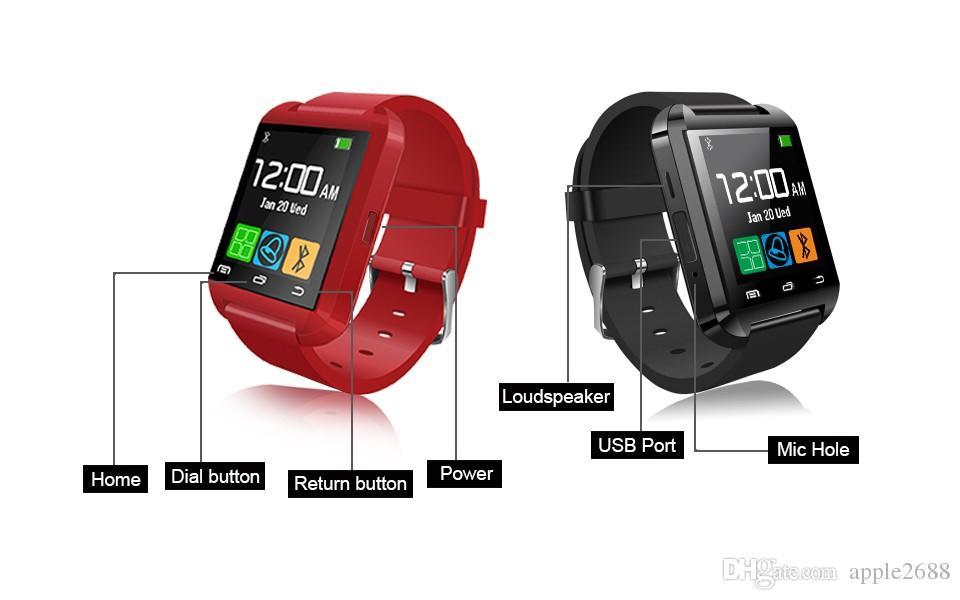 Smartwatch U8 Bluetooth Smart watch for Apple iPhone & Samsung s5 s6 HTC Huawei Xiaomi Meizu m3 Android Phone u80 Altitude Meter