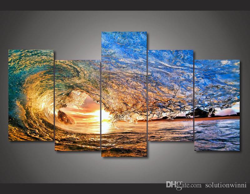 5 панель HD печатных закат свет, отражающий в волне живопись на холсте украшения комнаты печать плакат картина Обнаженная живопись искусство