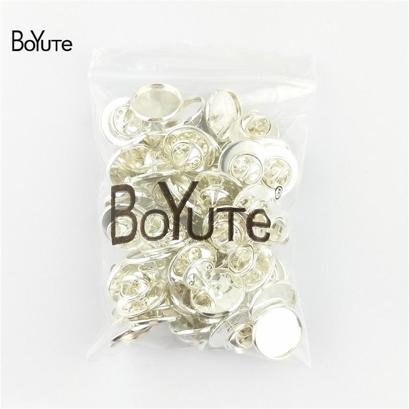 BoYuTe Round 12MM 14MM 16MM 18MM 20MM Cabochon Base Brooch Blanks Tray Bezel Diy Brooch Pins Jewelry Findings Components