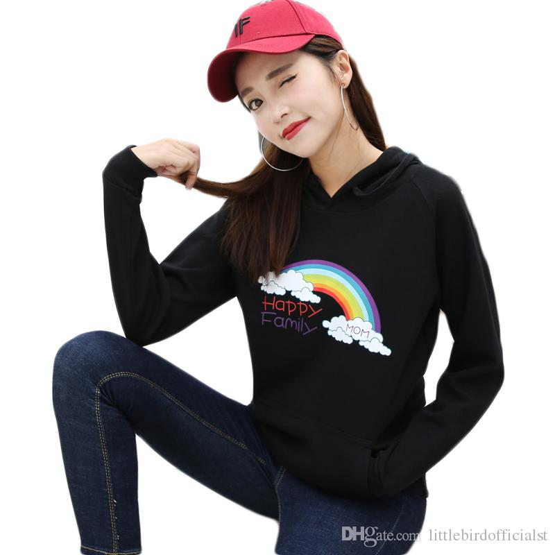 2017 Kawaii Rainbow Cotton Sweatshirt Women Korean Hooded Pullover Sweatshirt Female Winter Long Sleeve Women Hoodies