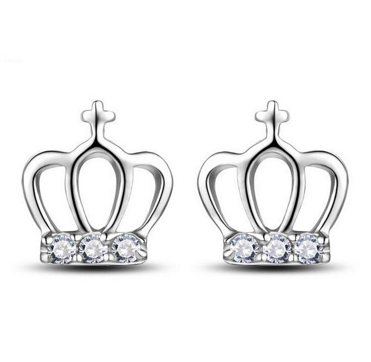 2018 Simple Cross Crown Stud Earrings Princess Girl Ear Jewelry ...