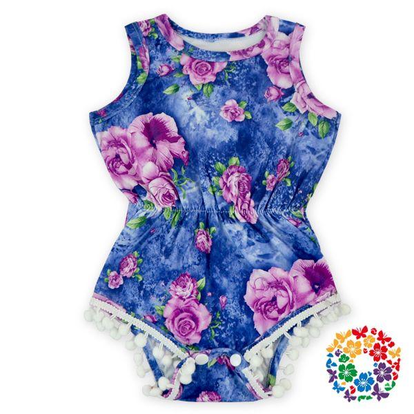 fee7f965a 06  Lovely Girls Floral Royal Blue Baby Romper Blank Vintage Pom Pom ...