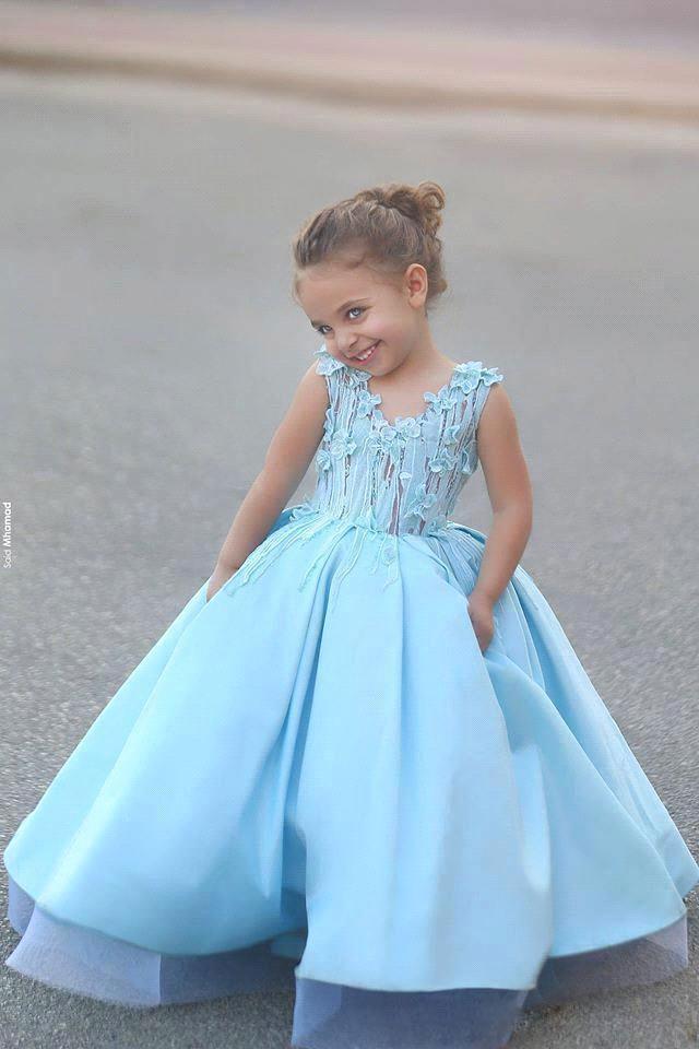 Lovely Kids Sky Blue Lace Ball Gown 2016 Flower Girl